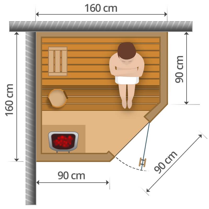 Finnische Sauna - 160x160cm