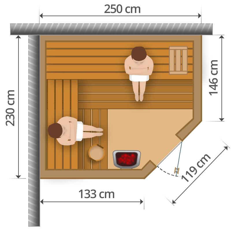 Finnische Sauna - 250x230cm