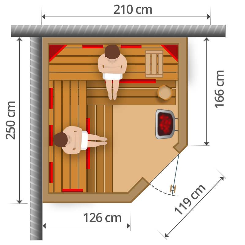Kombisauna - 210x250cm