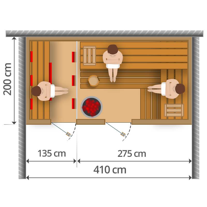 Kombisauna - 410x200cm