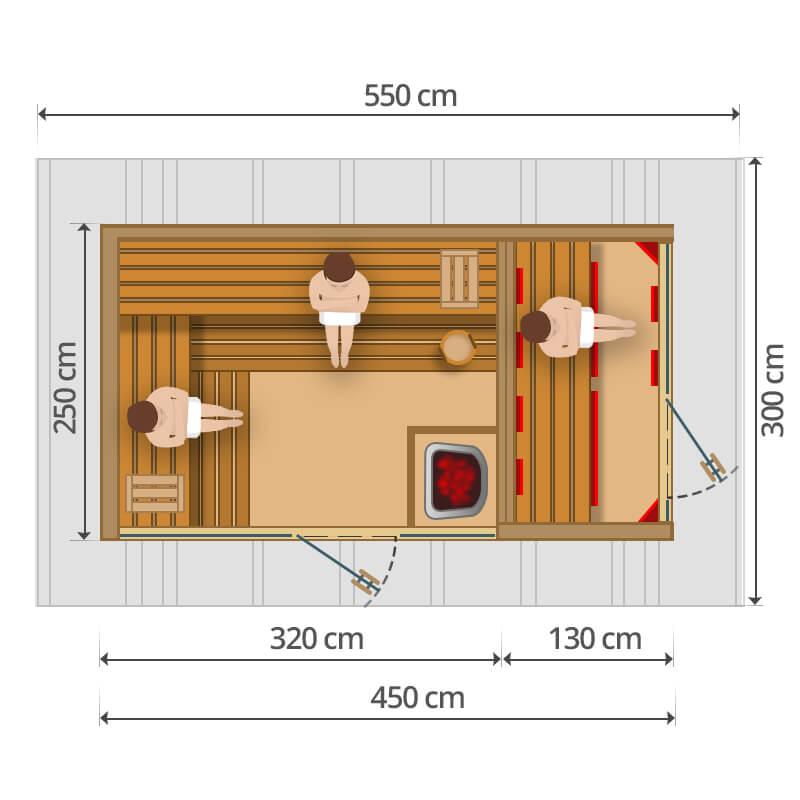 Kültéri kombinált szauna - 450x250cm
